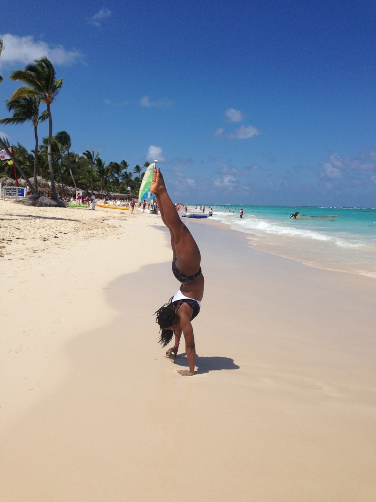 Handstand on the Beach of Punta Cana DR