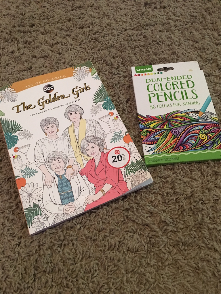 Golden Girls pencils and coloring book.JPG