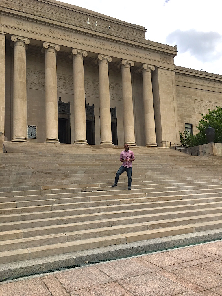 Sir at the back of the Nelson Atkins Museum.JPG