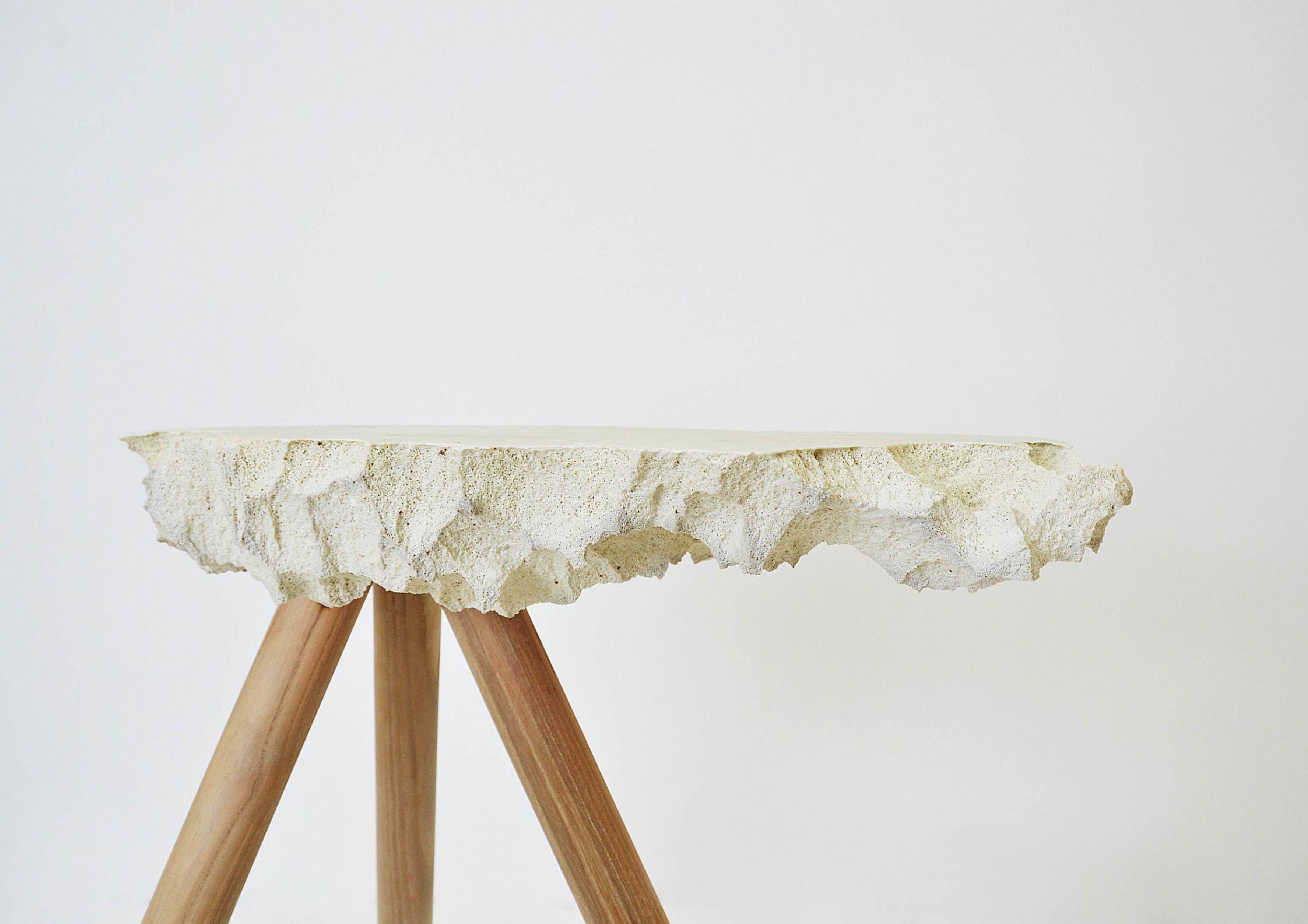 "Studio Work: PORCELAIN  I WHITE I   Size: 19"" x 20"" x 10""   Material: Porcelain, Oak   Photo by Luke Chen"