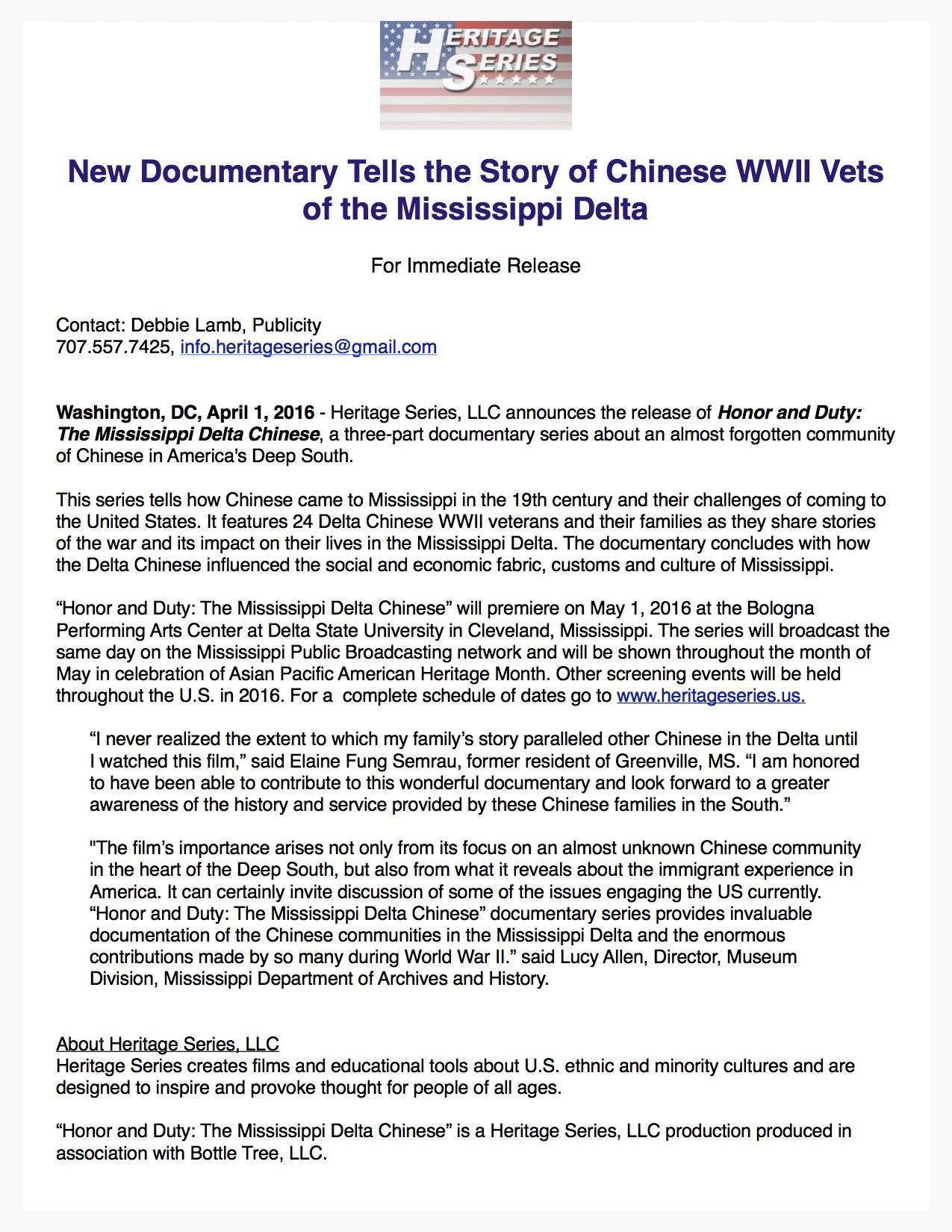New Documentary tells story of Chinese Veterans of Mississippi Delta