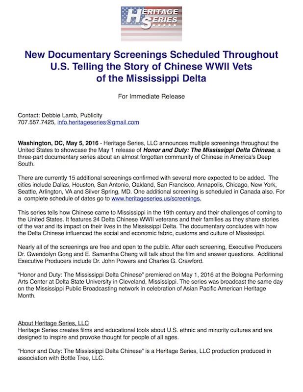 Documentary Screenings scheduled in U.S.
