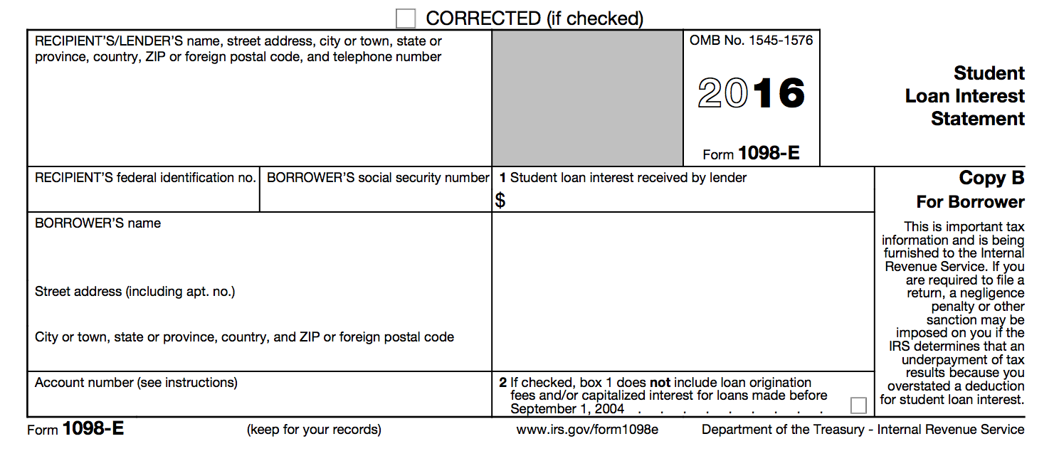 IRS Form 1098-E - Student Loan Interest Statement