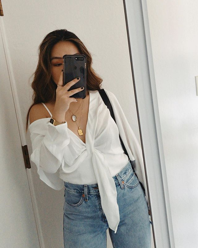 a photo of one of my favorite tops to kick off the start of no shop september for our apartment. loser has to do a deep clean of our apt + our trash cans + take out the trash for a month (I ain't planning to lose 😤 @katpark_ @ohschaps)
