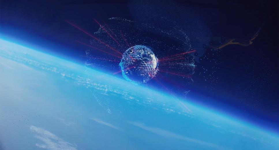 成層圏でのホログラムCM上映