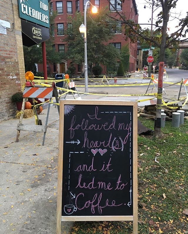 The city set up a fun obstacle course in front of the castle! Your prize for getting through? Well, coffee, of course. #coffee #chicago #lakeviewconstruction #maybewearebuildingamoat