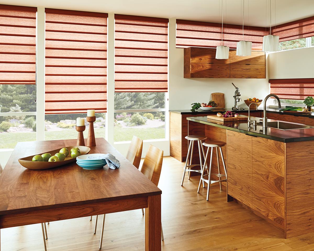 Roman Shades for Light-Filtering Home Windows Near Carlsbad, California (CA) like Vignette Modern in Dining Rooms