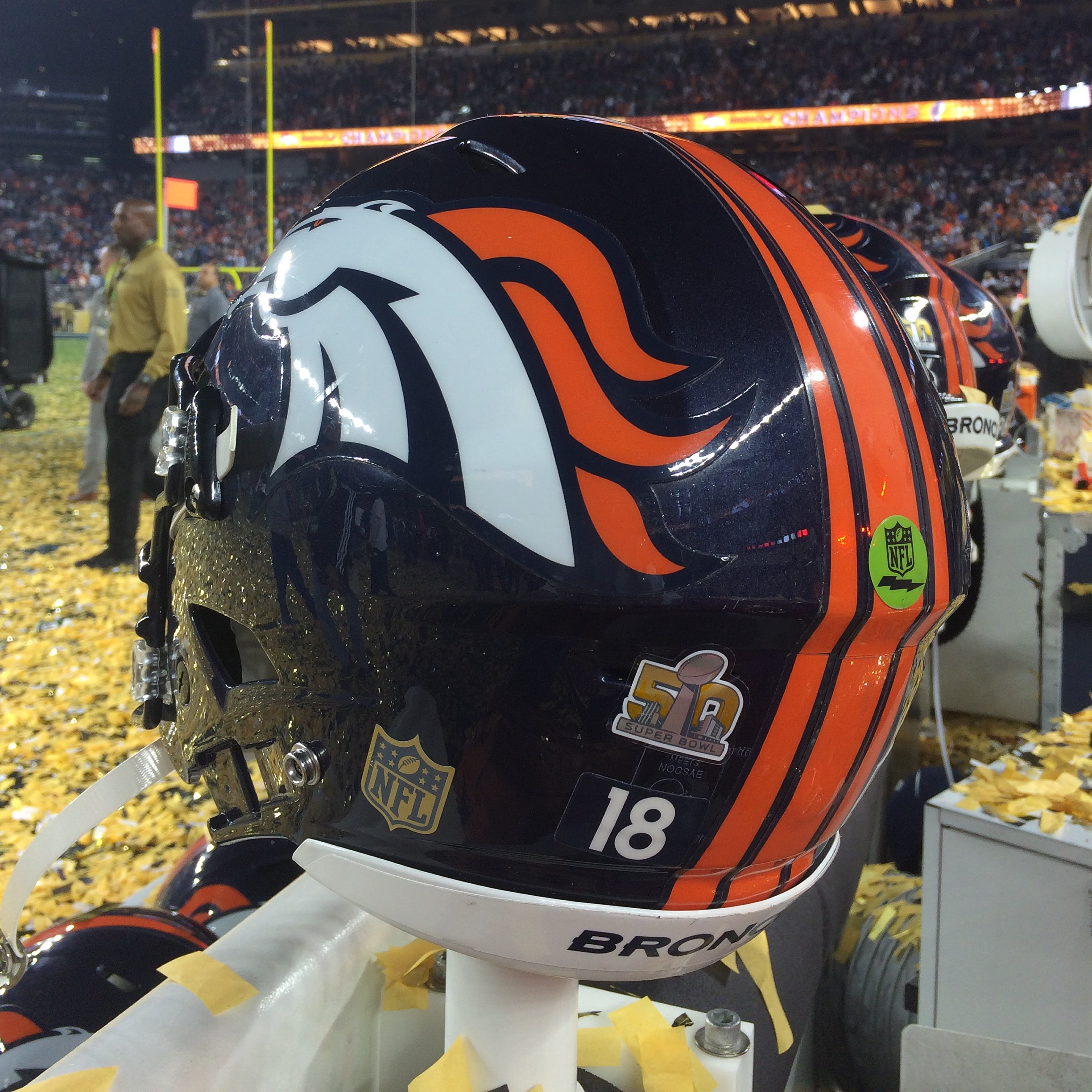 Broncos Helmet Super Bowl 50