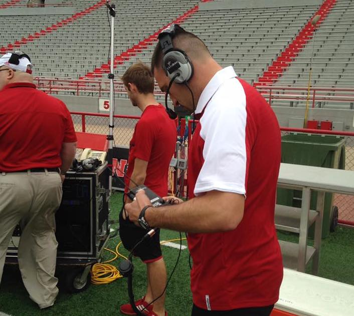 GSC's Alex Shada integrating the C2P systems at the Husker Spring Game.