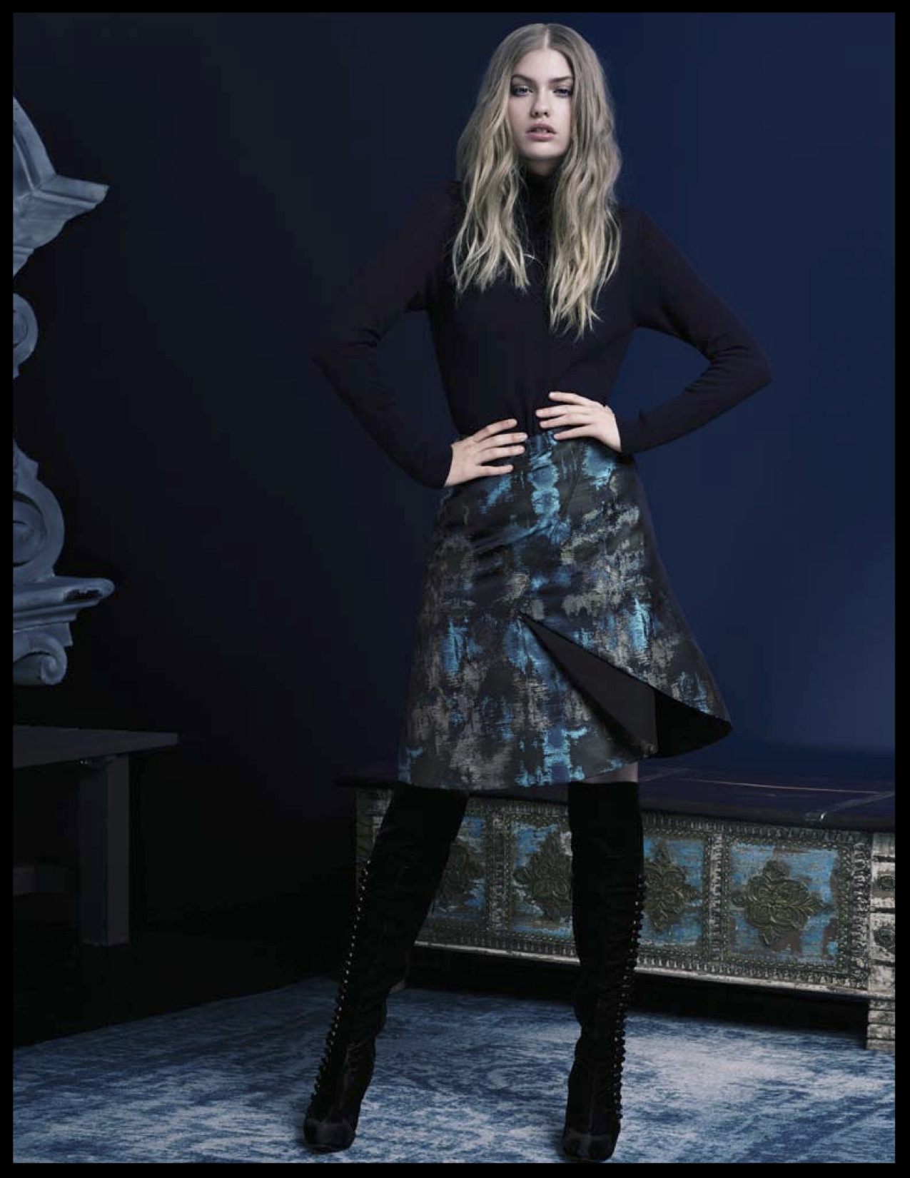 Luxe cotton turtleneck sweater with opulent jacquard skirt - Hilton Hollis
