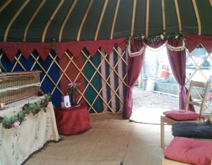 Our yurts provide an intimate, sensitive space to say goodbye. Seating can be provided.