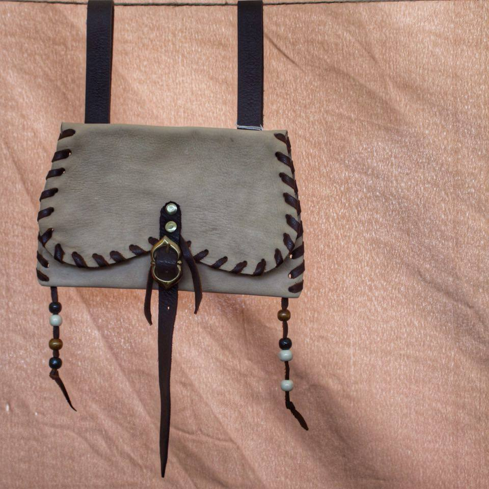 Cream Leather Purse with Beads and Brass Buckle £28  Contact Us For Prices