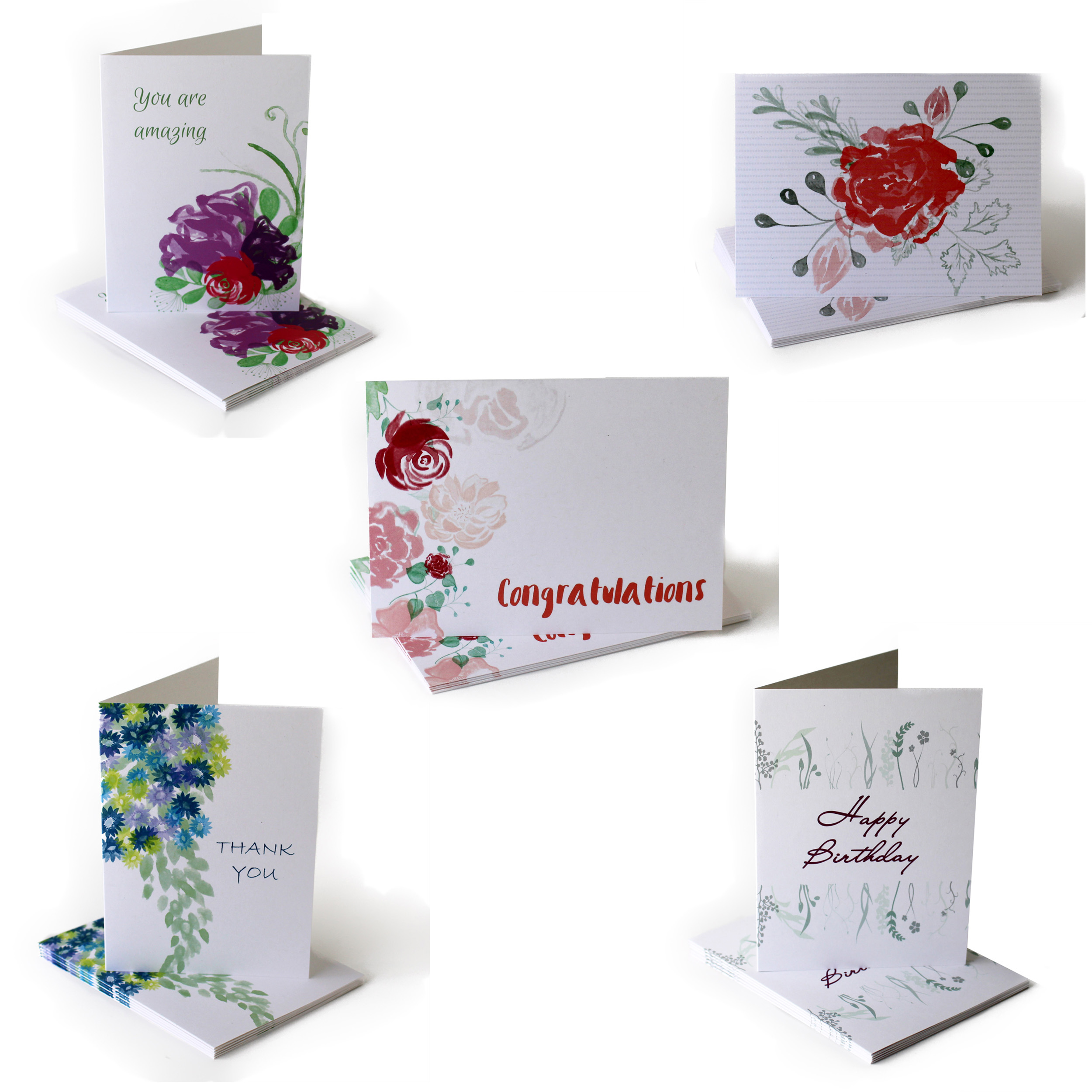 watercolor flower greeting card collection cafe notes + company