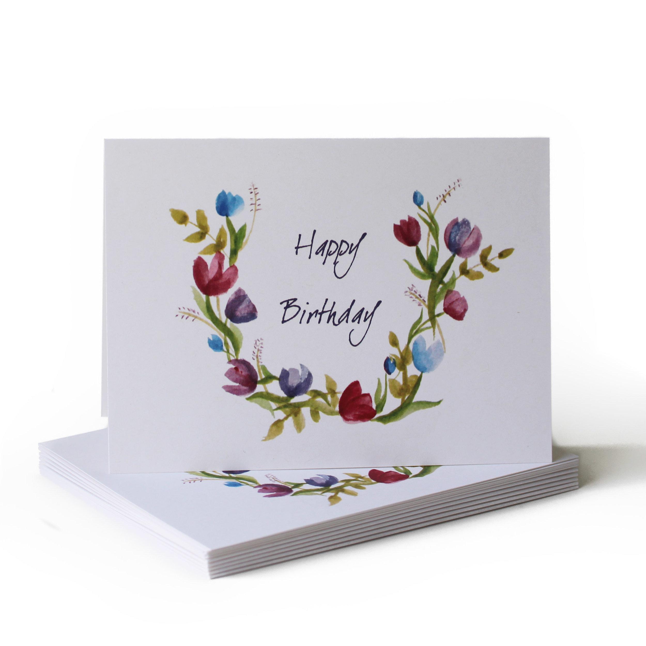Spring Wreath Birthday Greeting Card