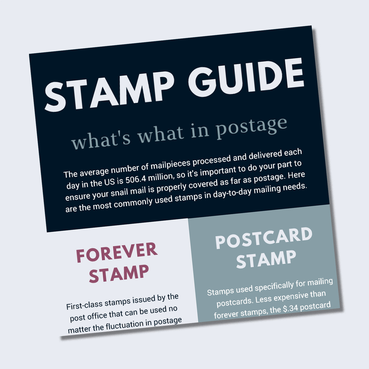 Want the quick version? - Hit the button for instant access to a free cheat sheet all about stamps