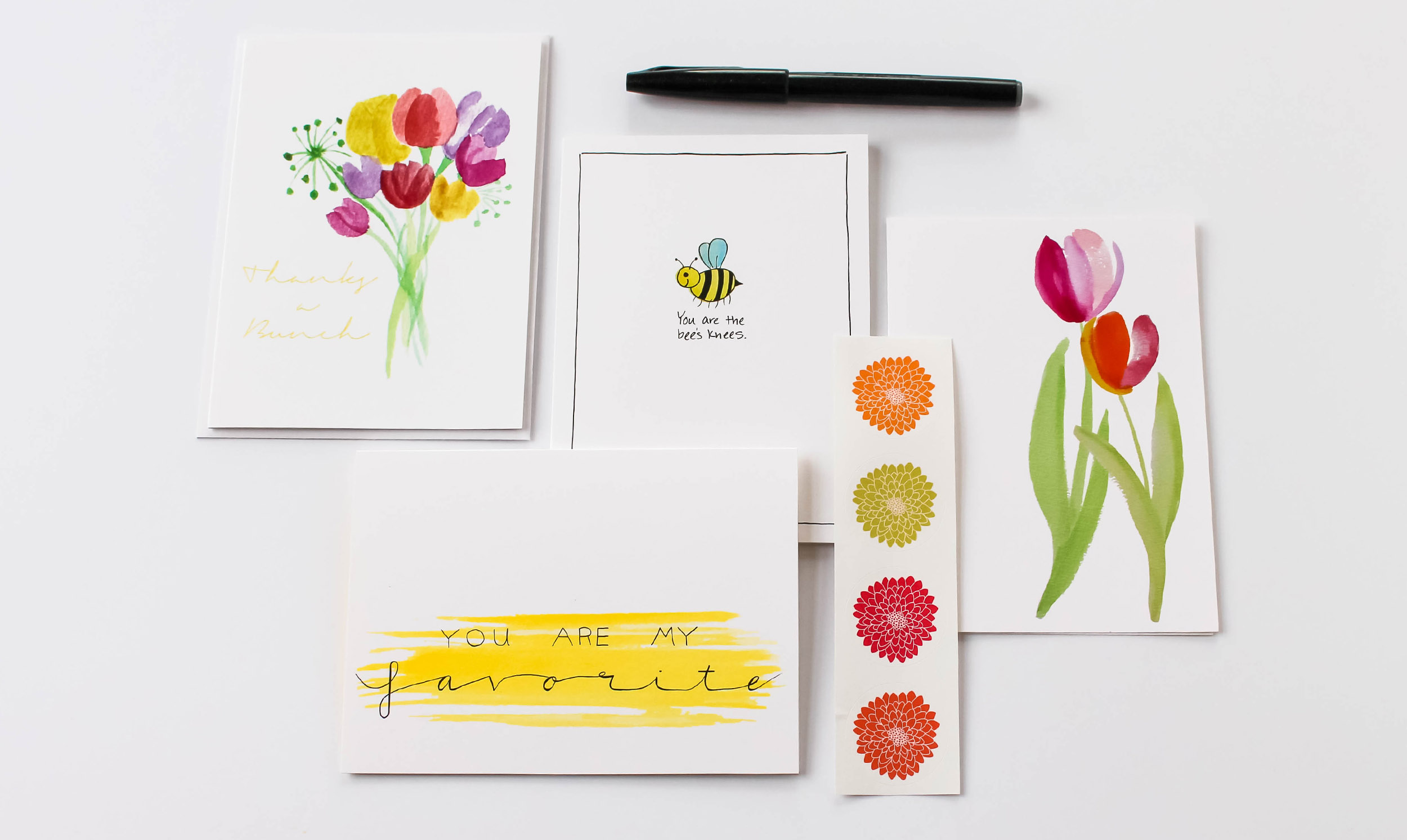 Cafe Notes + Company Bunch Bee Favorite Tulips Pen Stickers.jpg