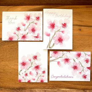 Wood Cherry Blossom Greeting card