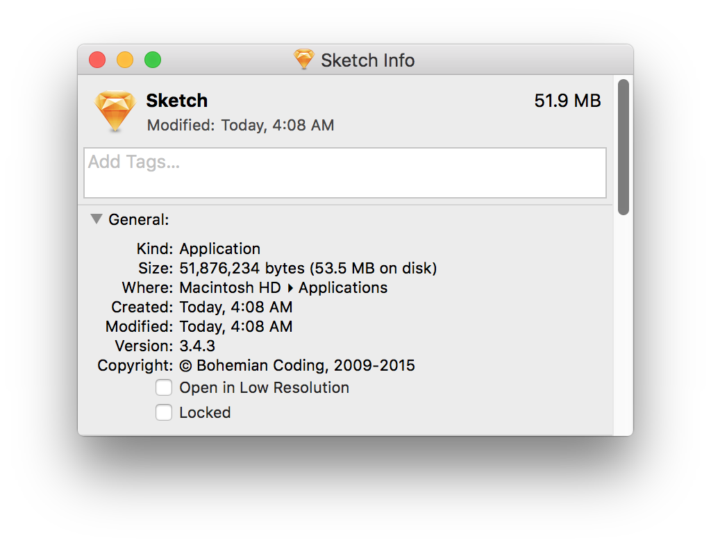 Sketch application weighing in at 51.9MB