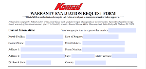 WARRANTY EVALUATION REQUEST FORM