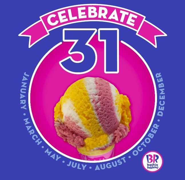 "Baskin-Robbins will be offering the ""Celebrate 31"" deal on the 31st of each month this year. Image via news.baskinrobbins.com."