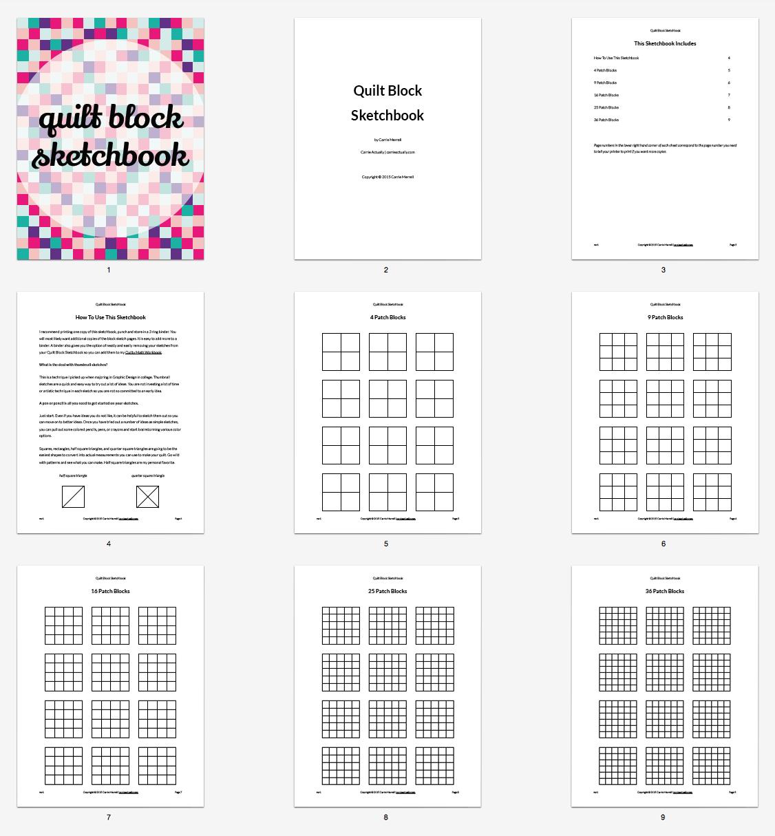 Inside the Quilt Block Sketchbook