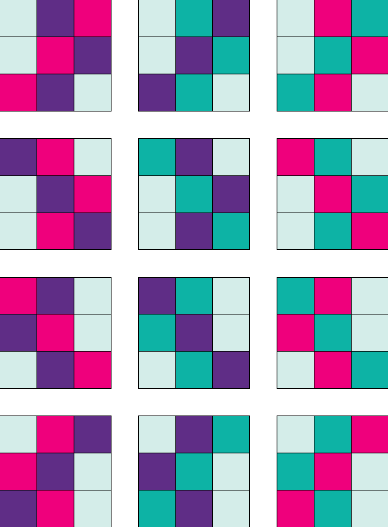 Step by step quilt top design process - Braided 9 Patch -Use the  Quilt Block Sketchbook 9 Patch page to color in blocks.Each column is the same pattern.Background light blue stays the same.Pink, purple, and teal color placement rotates.