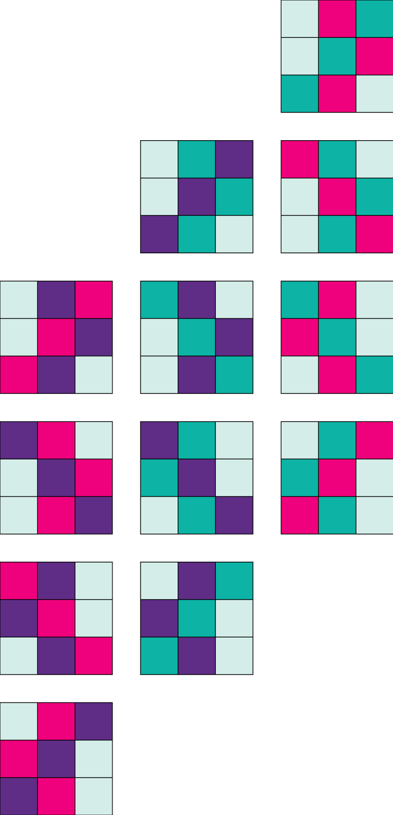 Step by step quilt top design process - Braided 9 Patch -Offset the columns.Column 1 stays in place,column 2 moves up one block length,column 3 moves up two block lengths.