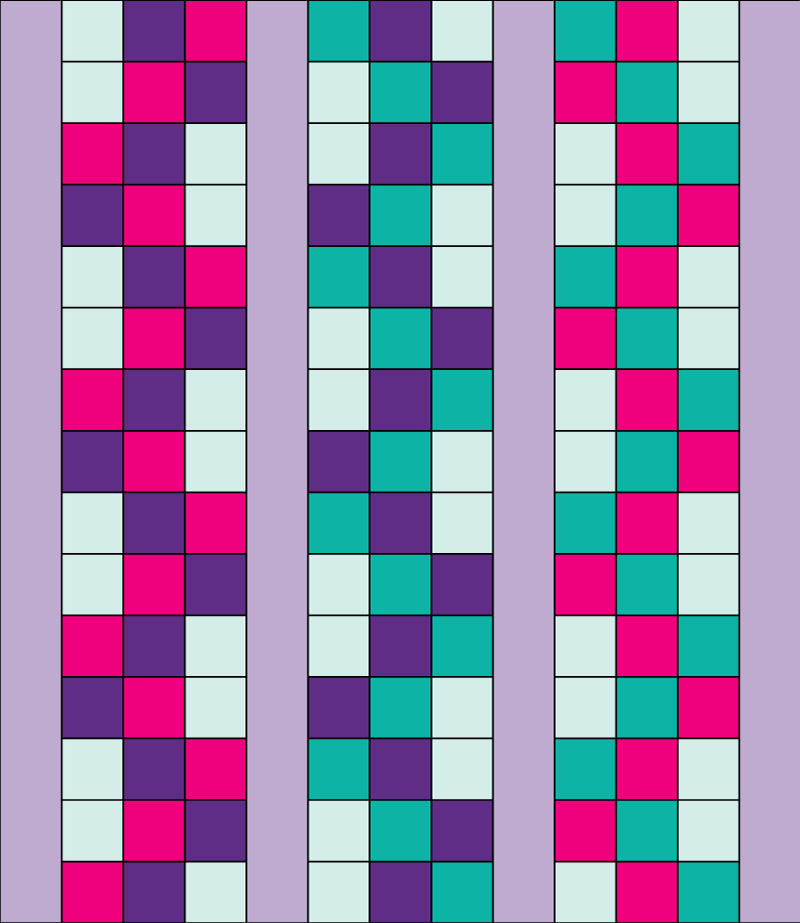 Step by step quilt top design process - Braided 9 Patch -Add vertical sashing between each column.Repeat sashing as borders along the outside vertical edges