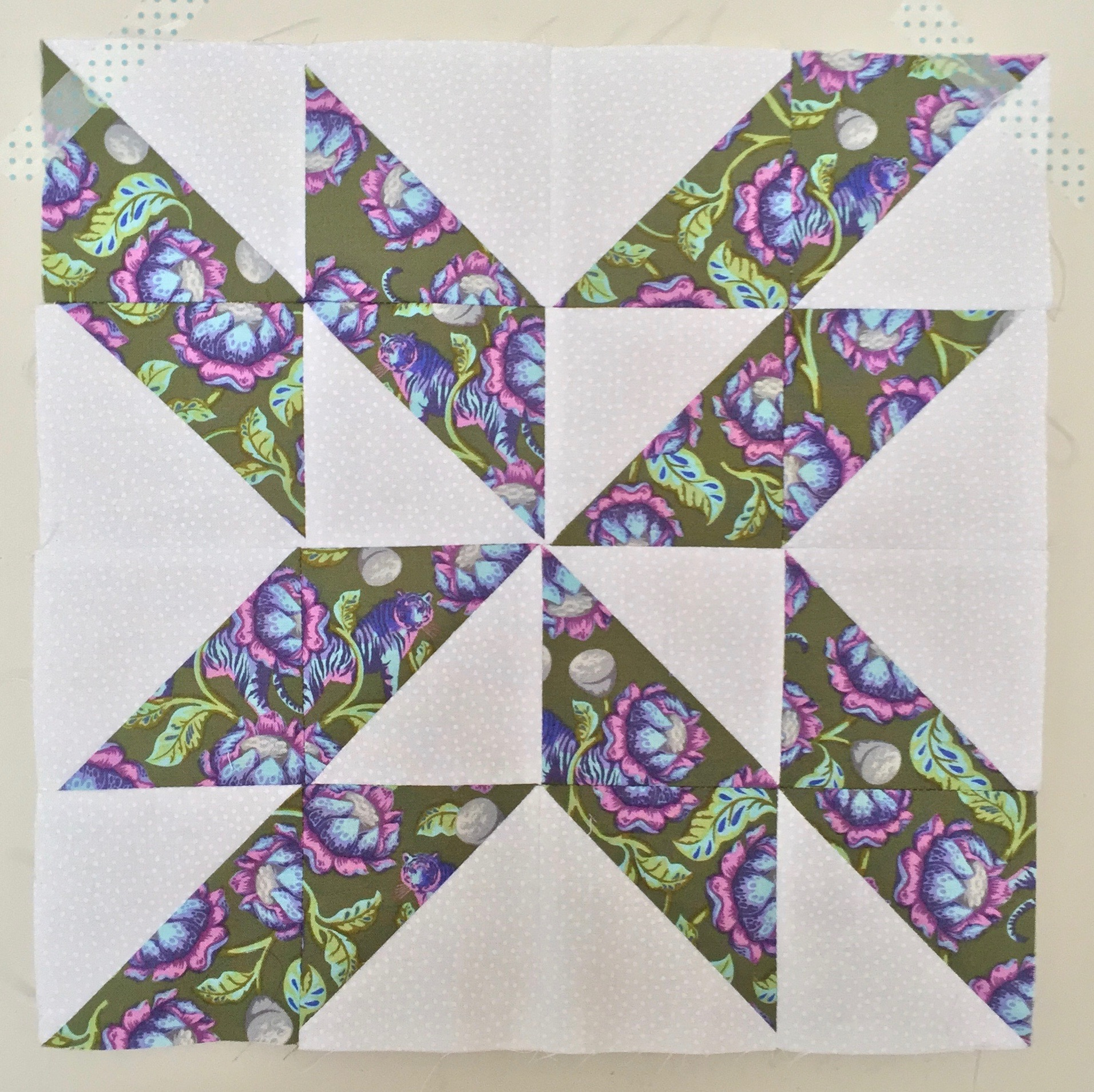 Trailing Star  Half Square Triangle Quilt Block