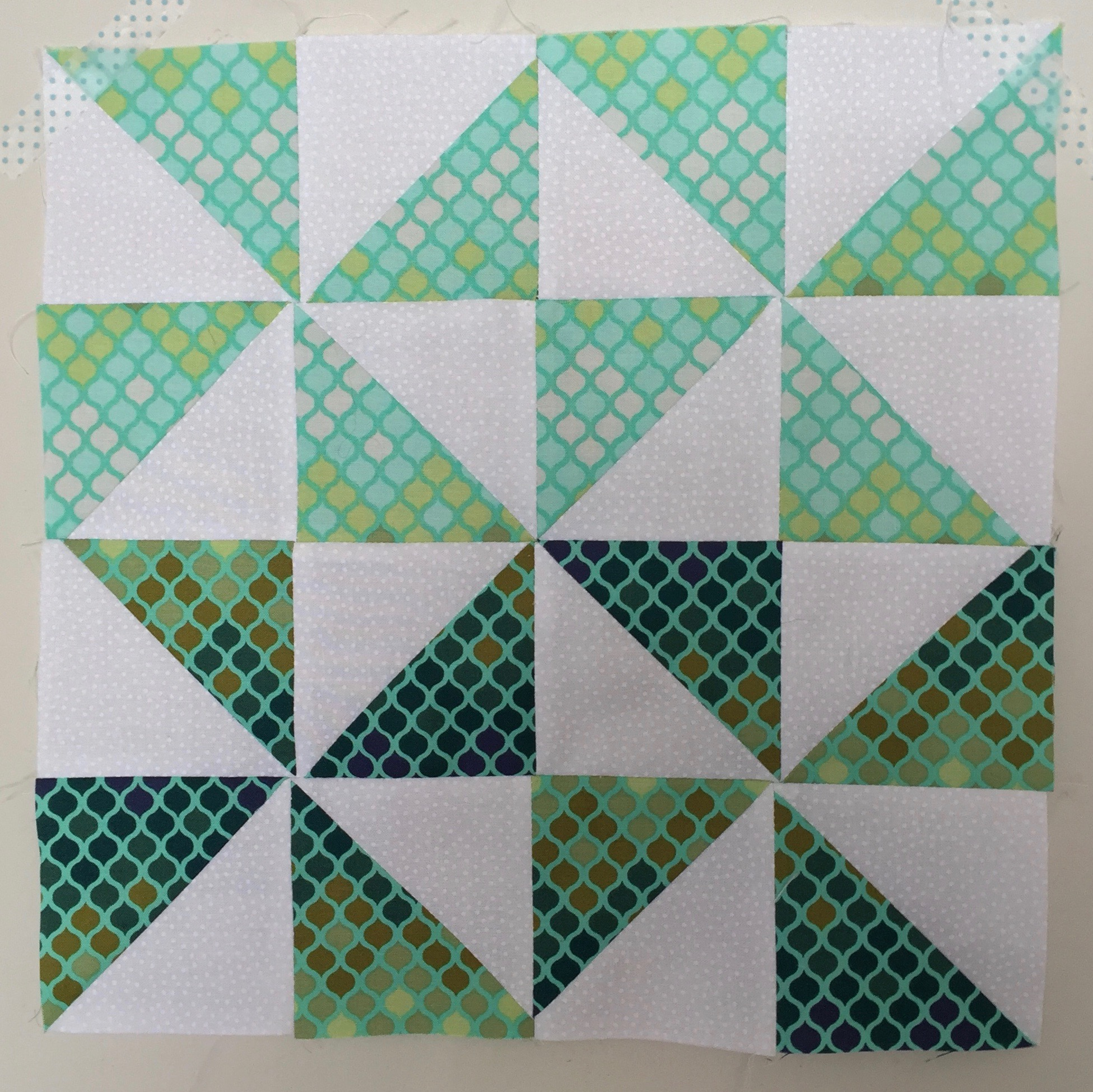 Broken Dishes (variation) Half Square Triangle Quilt Block