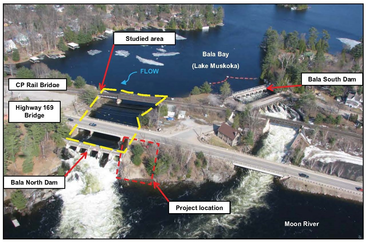 General view of North Bala Small Hydro Project location with limit of modeled area.