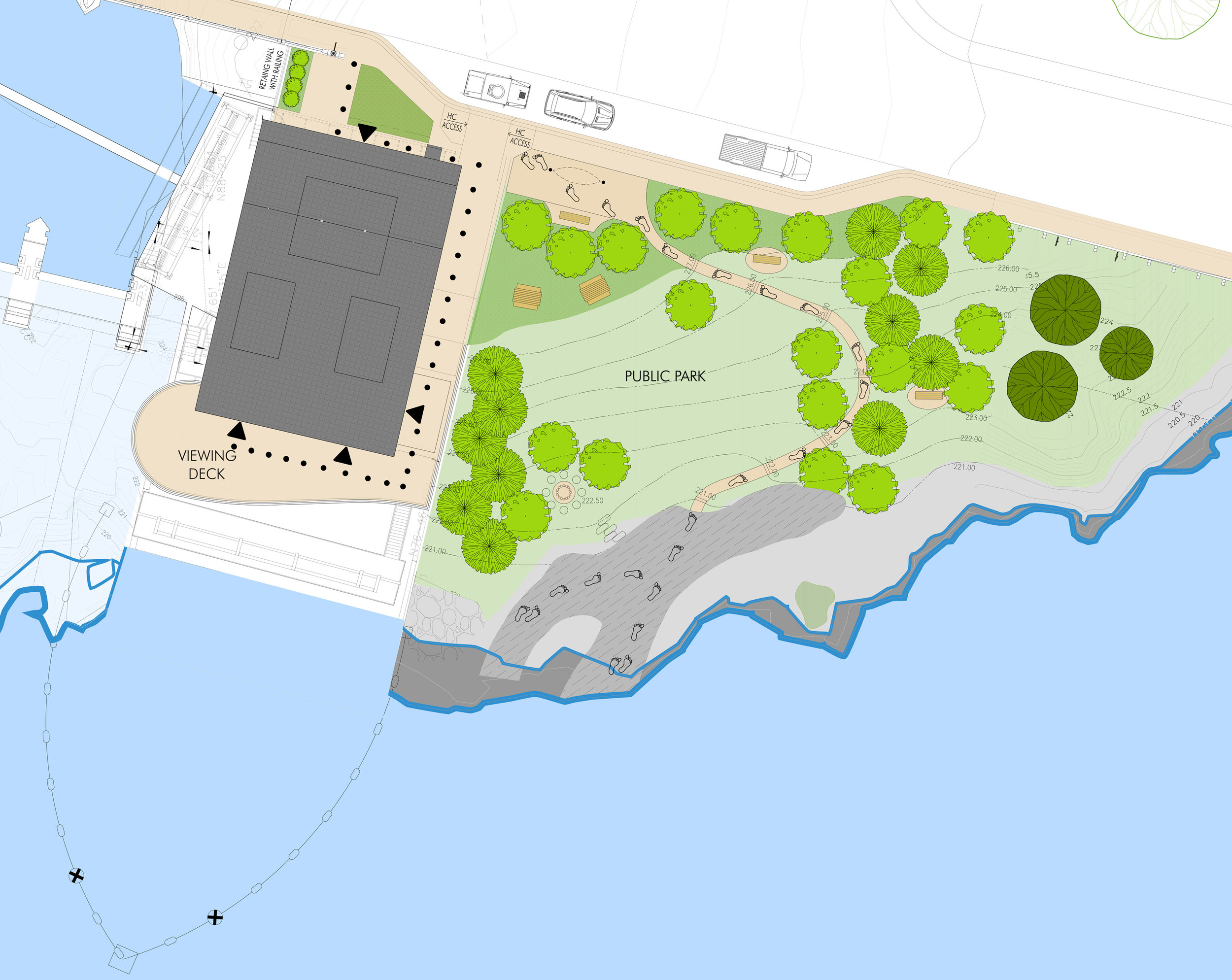 Site plan showing power house, public park, new parking spaces in front of building