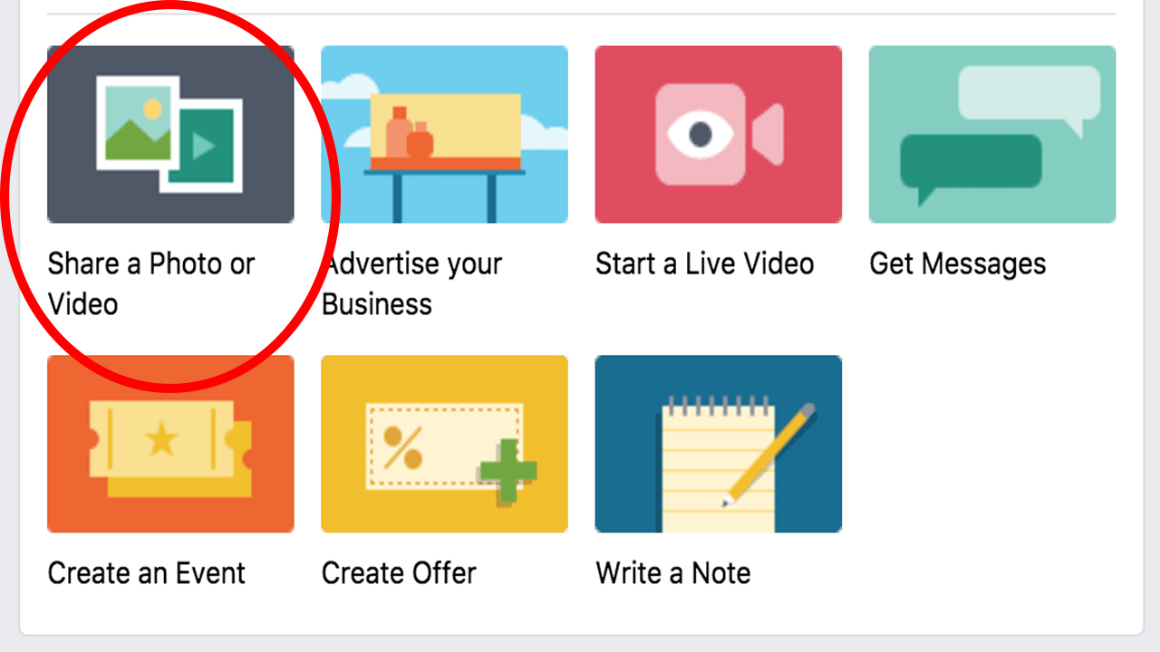 Click on the 'Share a Photo or Video' icon on your Facebook homepage.