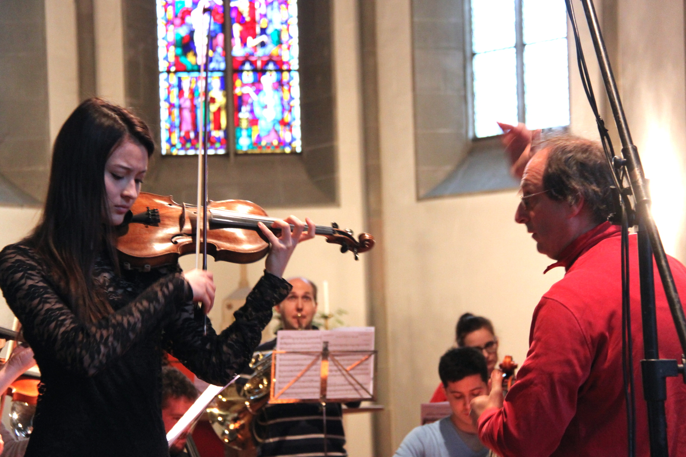 During rehearsal of the Mozart Violin Concerto