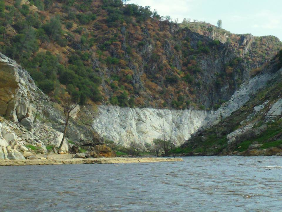 The 'bath tub ring' on the Camp Nine section of the Stanislaus River after 34 years under the New Melones Dam