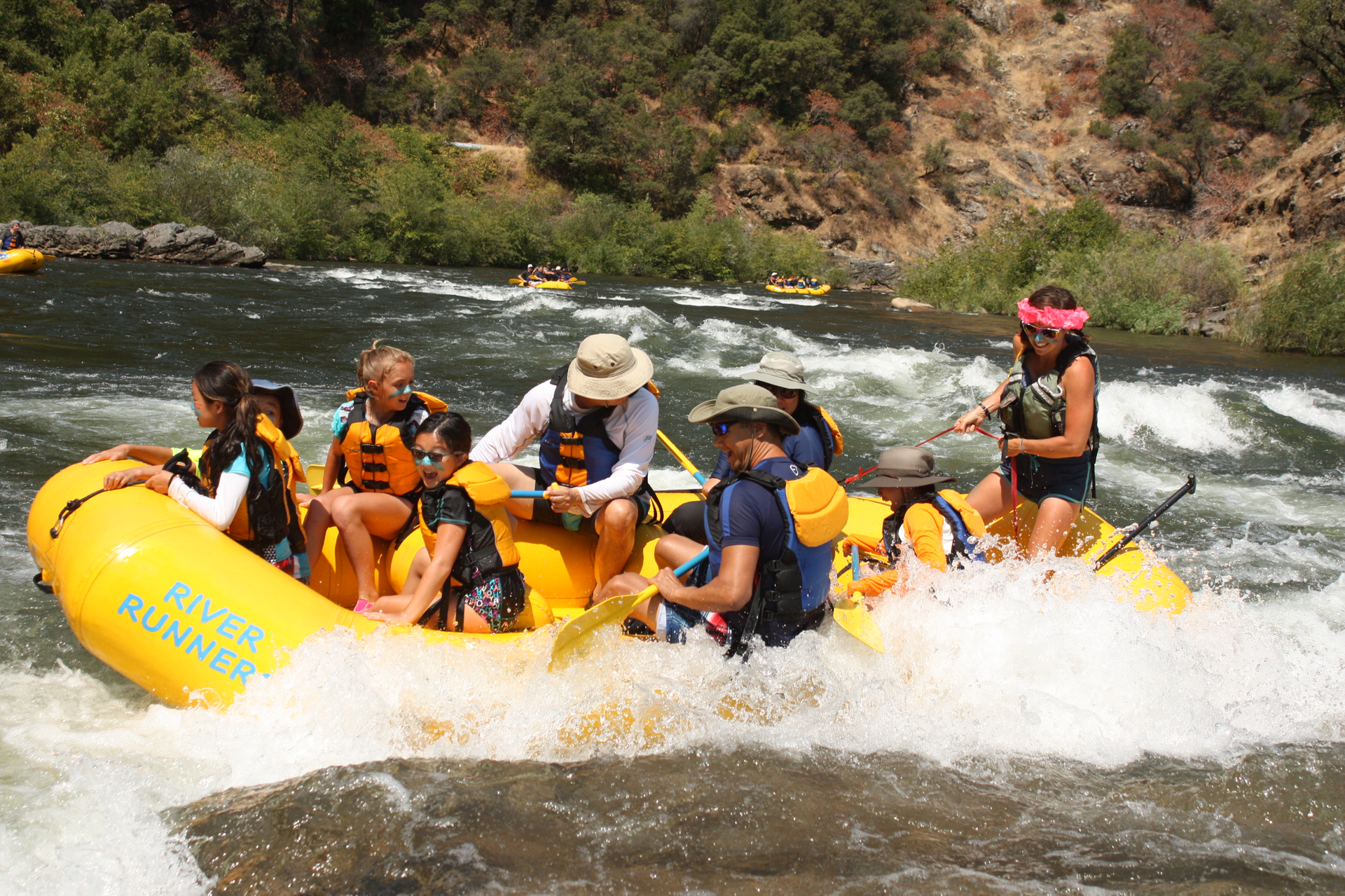 Sarah V and her crew having a fun side surf on the South Fork of the American River