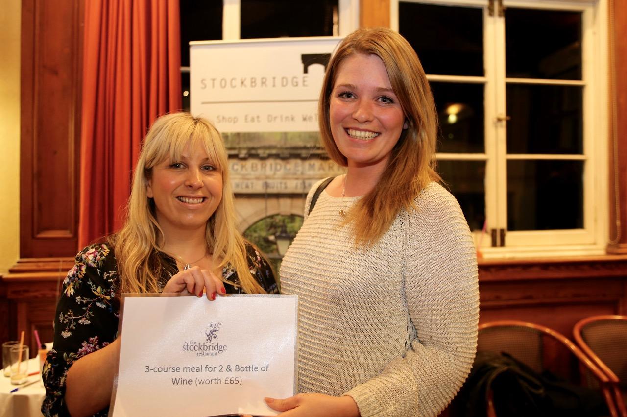 Nikki Christie (right) receives her prize – from Jane of Stockbridge Restaurant .jpg