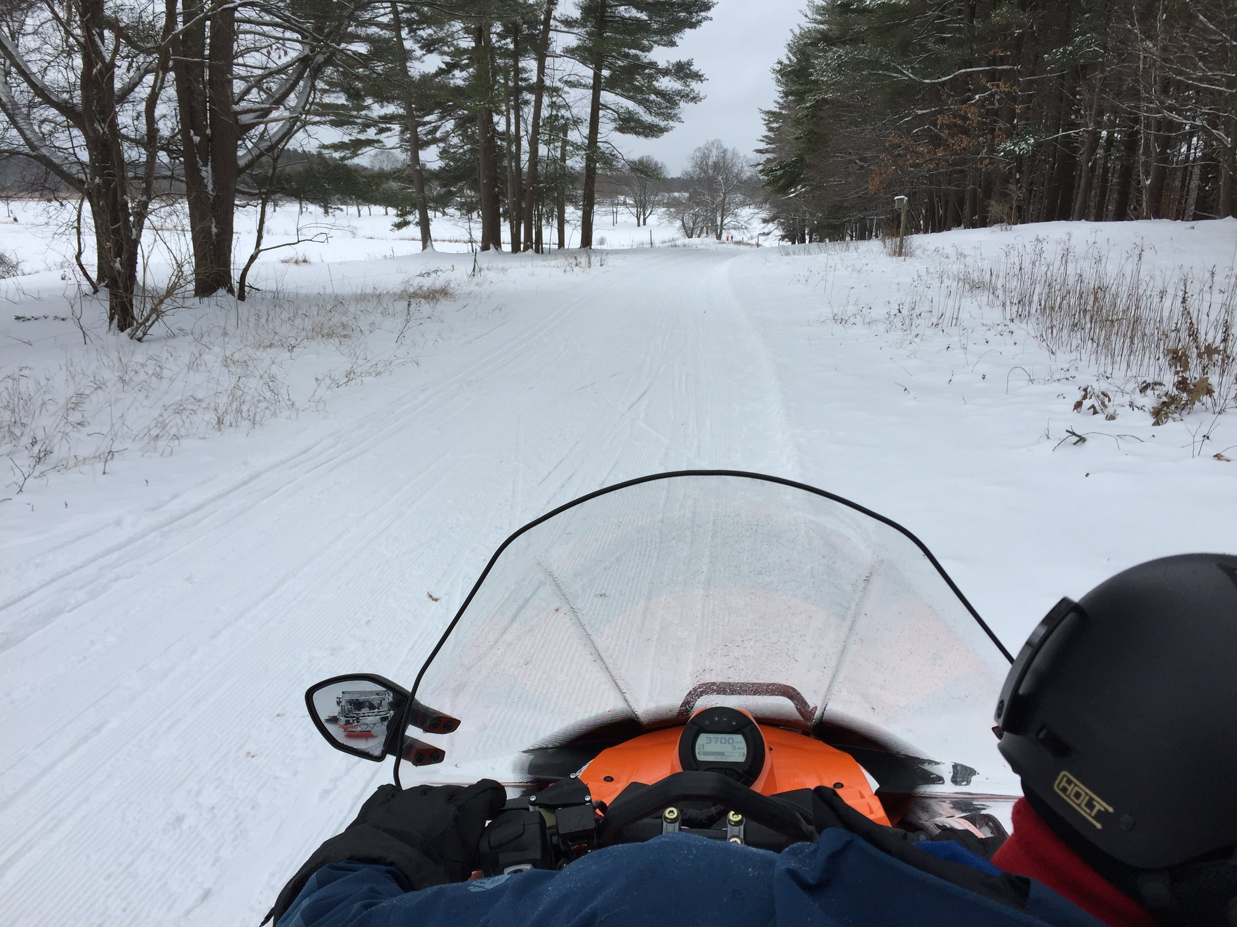 A view from the sled today while grooming at Appleton