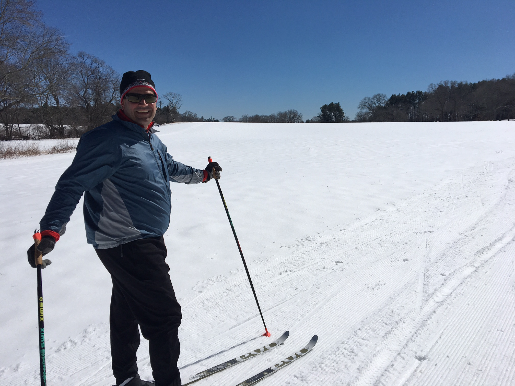 Jamie Braman from Watertown enjoyed his first time classic skiing at Appleton today