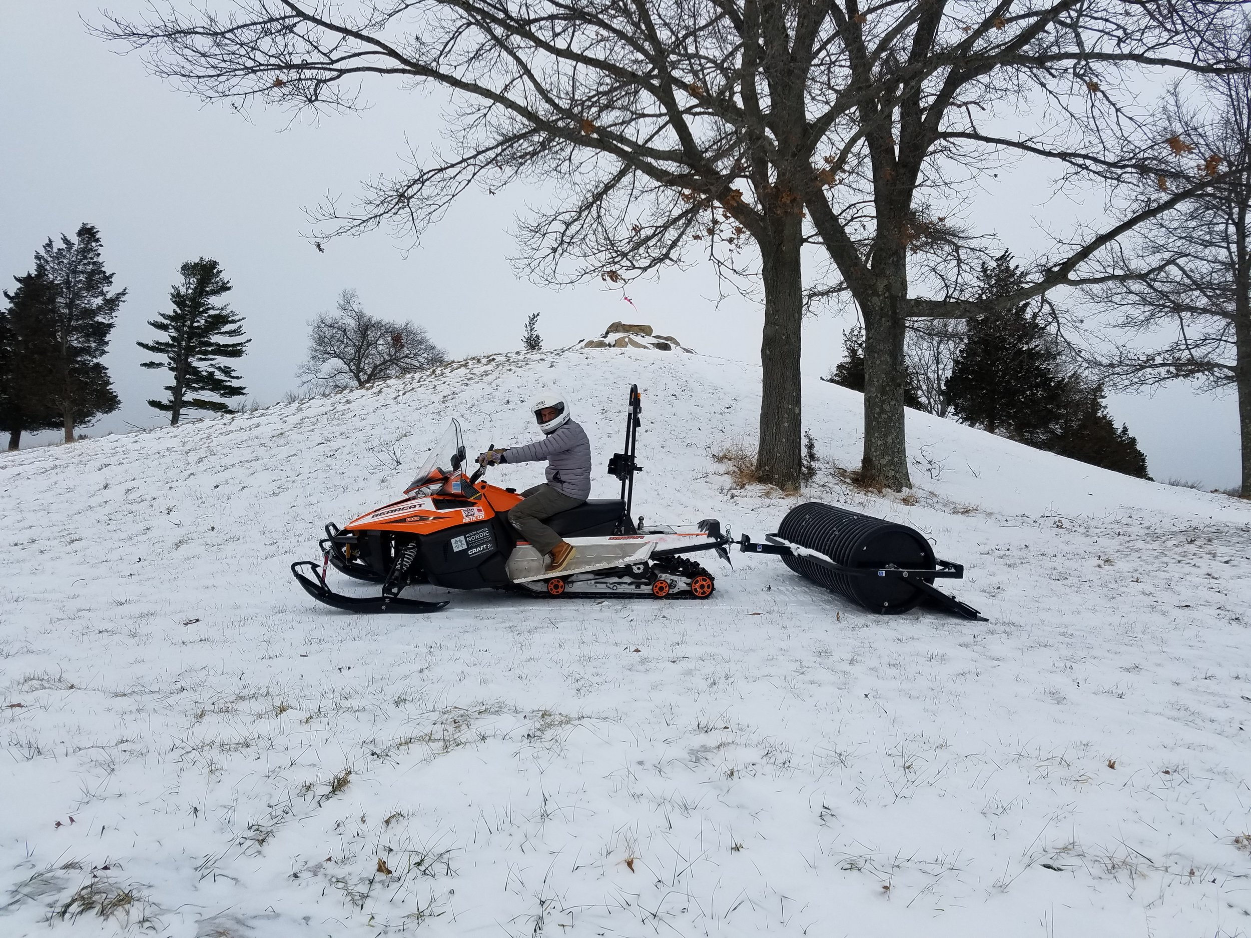 All set for a grooming at Sagamore Hill, but the snow was all blown out.
