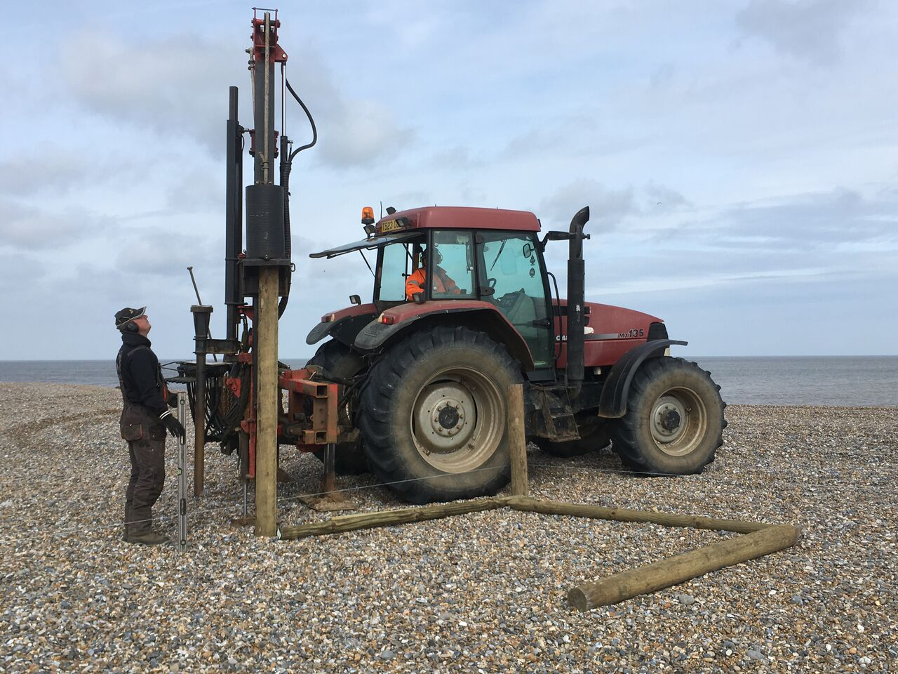 Getting machinery onto the beach was the first challenge