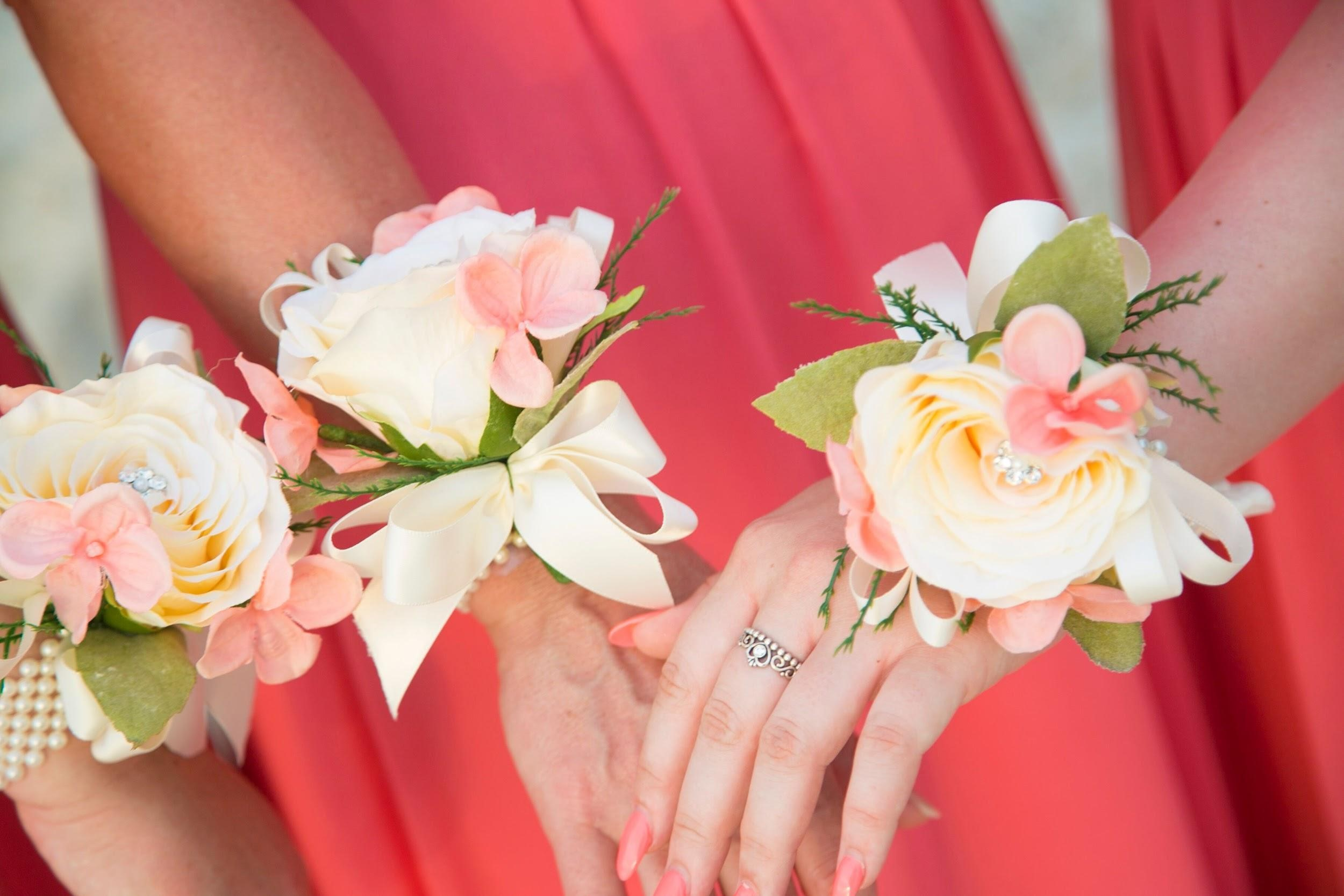 The Bridesmaids were dressed in peach with beautiful peach flowers to match