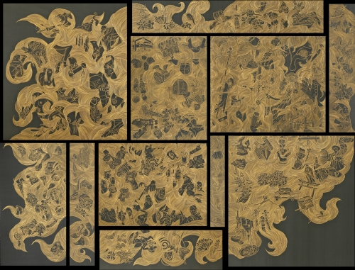 chinchamag :     Oh Enhee, the contemporary Korean artist, created The realities of unspeakable from silk dyed with Korean ink and gold dust.     I love this.
