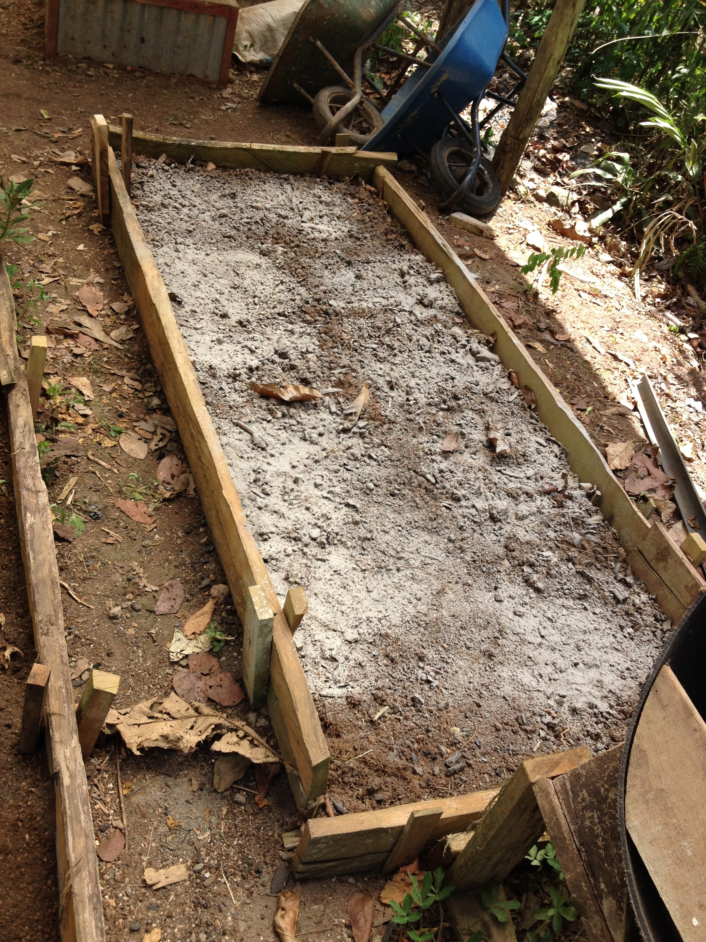 Lime applied to a raised garden bed.