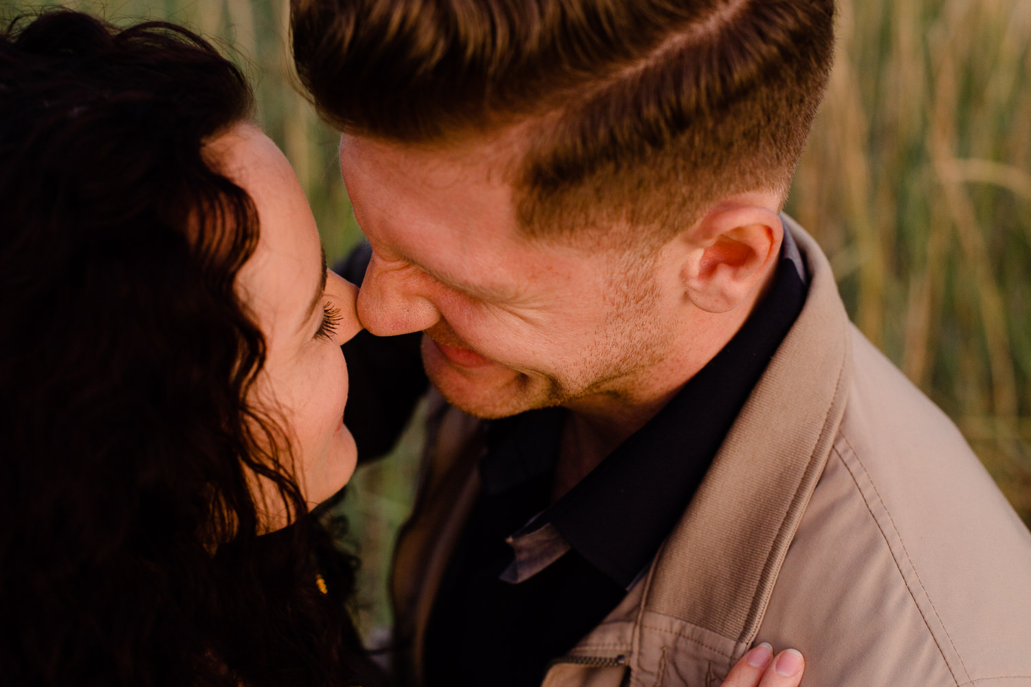 Close up of a couple touching noses - Merseyside pre wedding shoot