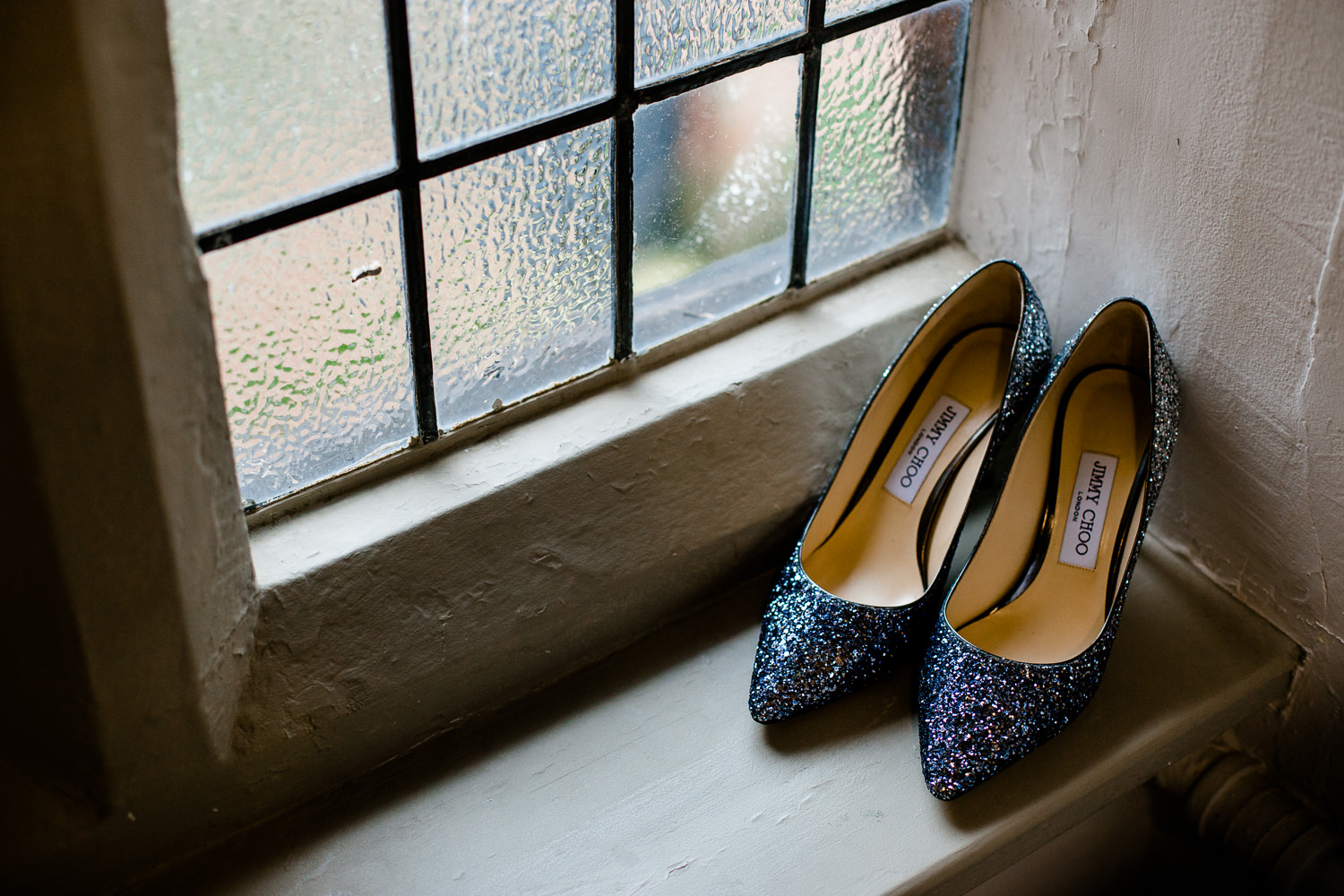 Glitter wedding Jimmy Choo shoes at Thornton Manor