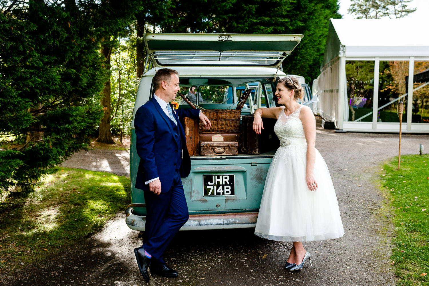 Kat & Ray and a vintage VW campervan at Thornton Manor Wirral on their wedding day.