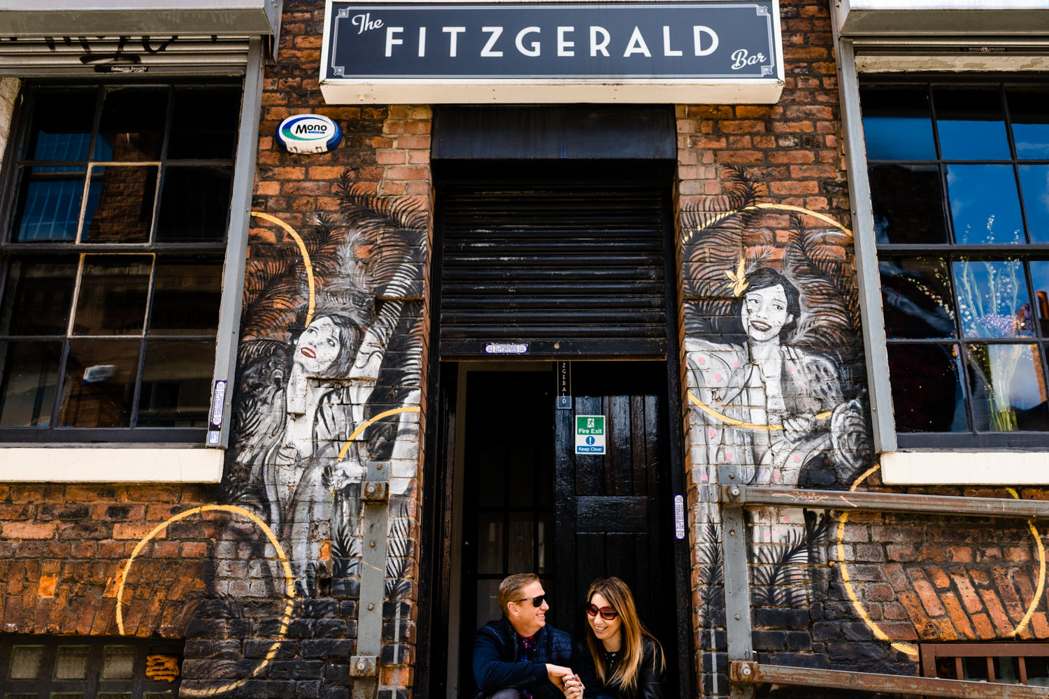 A couple sat outside a bar in Manchesters Norther Quarter ahead of their wedding day.