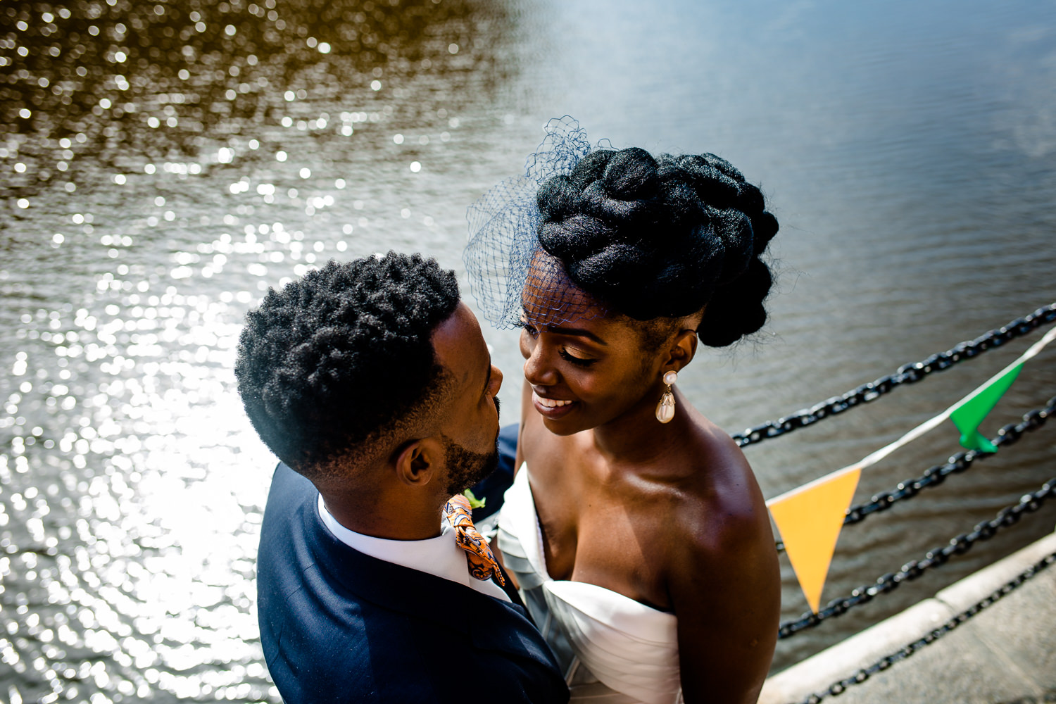 Liverpool wedding photography of a bride and groom at the dockside.