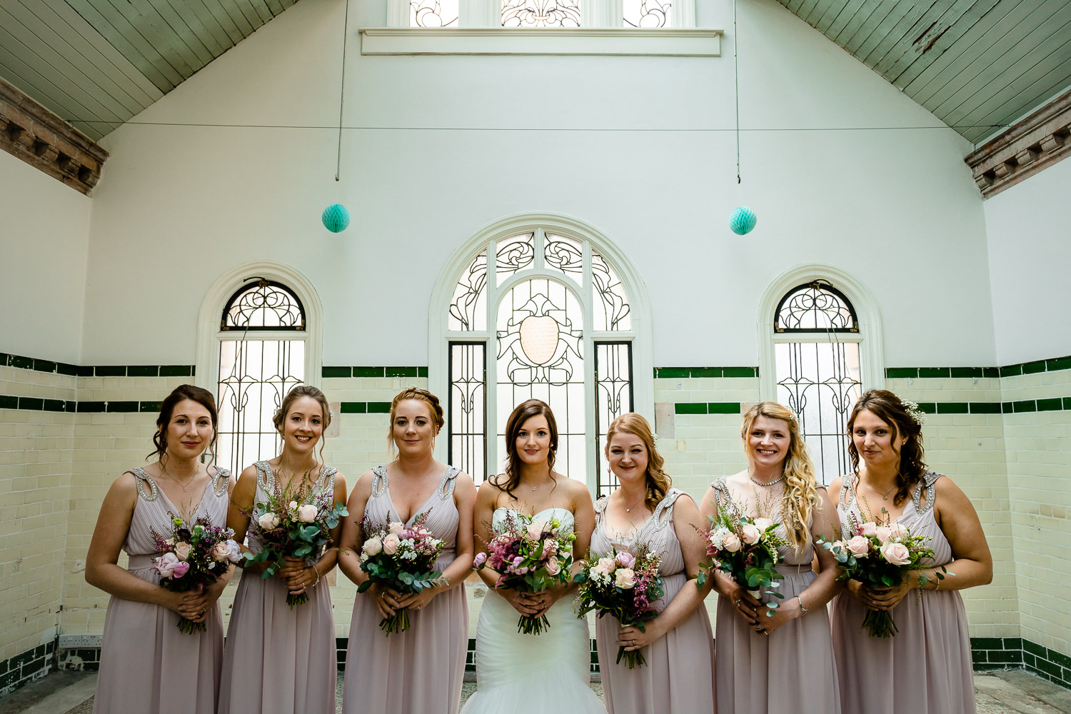 Bridesmaids in the Pineapple Room at a Victoria Baths wedding.